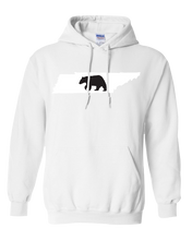 Load image into Gallery viewer, Pullover Hooded Sweatshirt Tennessee White Black Bear Vibrant Design High Quality Tight Knit Ring Spun Low Maintenance Cotton Printed With The Newest Available Color Transfer Technology