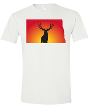 Load image into Gallery viewer, Short Sleeve T-Shirt North Dakota White Mule Deer Vibrant Design High Quality Tight Knit Ring Spun Low Maintenance Cotton Printed With The Newest Available Color Transfer Technology