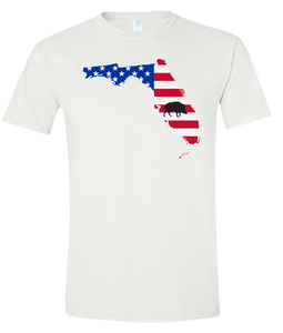 Short Sleeve T-Shirt Florida White Wild Hog Vibrant Design High Quality Tight Knit Ring Spun Low Maintenance Cotton Printed With The Newest Available Color Transfer Technology