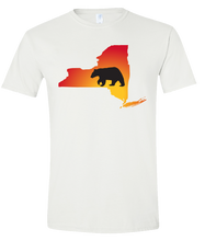 Load image into Gallery viewer, Short Sleeve T-Shirt New York White Black Bear Vibrant Design High Quality Tight Knit Ring Spun Low Maintenance Cotton Printed With The Newest Available Color Transfer Technology