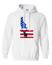 Load image into Gallery viewer, Pullover Hooded Sweatshirt Idaho White Elk Vibrant Design High Quality Tight Knit Ring Spun Low Maintenance Cotton Printed With The Newest Available Color Transfer Technology