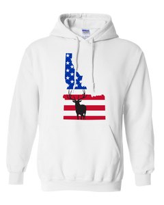 Pullover Hooded Sweatshirt Idaho White Elk Vibrant Design High Quality Tight Knit Ring Spun Low Maintenance Cotton Printed With The Newest Available Color Transfer Technology