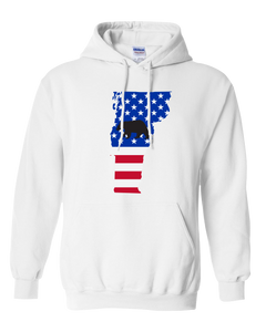 Pullover Hooded Sweatshirt Vermont White Black Bear Vibrant Design High Quality Tight Knit Ring Spun Low Maintenance Cotton Printed With The Newest Available Color Transfer Technology