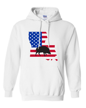 Load image into Gallery viewer, Pullover Hooded Sweatshirt Louisiana White Wild Hog Vibrant Design High Quality Tight Knit Ring Spun Low Maintenance Cotton Printed With The Newest Available Color Transfer Technology