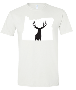 Short Sleeve T-Shirt Oregon White Mule Deer Vibrant Design High Quality Tight Knit Ring Spun Low Maintenance Cotton Printed With The Newest Available Color Transfer Technology