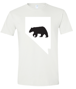 Short Sleeve T-Shirt Nevada White Black Bear Vibrant Design High Quality Tight Knit Ring Spun Low Maintenance Cotton Printed With The Newest Available Color Transfer Technology