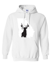 Load image into Gallery viewer, Pullover Hooded Sweatshirt Georgia White Whitetail Deer Vibrant Design High Quality Tight Knit Ring Spun Low Maintenance Cotton Printed With The Newest Available Color Transfer Technology