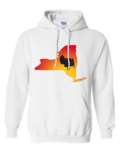 Load image into Gallery viewer, Pullover Hooded Sweatshirt New York White Turkey Vibrant Design High Quality Tight Knit Ring Spun Low Maintenance Cotton Printed With The Newest Available Color Transfer Technology