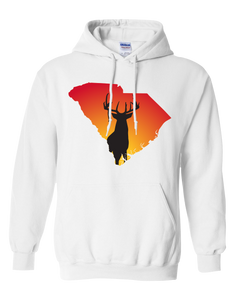 Pullover Hooded Sweatshirt South Carolina White Whitetail Deer Vibrant Design High Quality Tight Knit Ring Spun Low Maintenance Cotton Printed With The Newest Available Color Transfer Technology