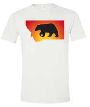 Load image into Gallery viewer, Short Sleeve T-Shirt Montana White Black Bear Vibrant Design High Quality Tight Knit Ring Spun Low Maintenance Cotton Printed With The Newest Available Color Transfer Technology