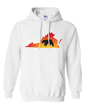 Load image into Gallery viewer, Pullover Hooded Sweatshirt Virginia White Black Bear Vibrant Design High Quality Tight Knit Ring Spun Low Maintenance Cotton Printed With The Newest Available Color Transfer Technology