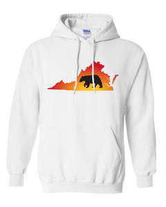 Pullover Hooded Sweatshirt Virginia White Black Bear Vibrant Design High Quality Tight Knit Ring Spun Low Maintenance Cotton Printed With The Newest Available Color Transfer Technology