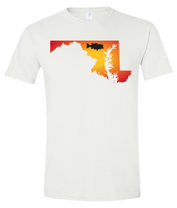 Short Sleeve T-Shirt Maryland White Large Mouth Bass Vibrant Design High Quality Tight Knit Ring Spun Low Maintenance Cotton Printed With The Newest Available Color Transfer Technology