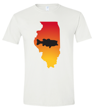 Load image into Gallery viewer, Short Sleeve T-Shirt Illinois White Large Mouth Bass Vibrant Design High Quality Tight Knit Ring Spun Low Maintenance Cotton Printed With The Newest Available Color Transfer Technology