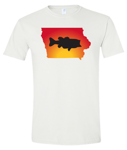 Short Sleeve T-Shirt Iowa White Large Mouth Bass Vibrant Design High Quality Tight Knit Ring Spun Low Maintenance Cotton Printed With The Newest Available Color Transfer Technology