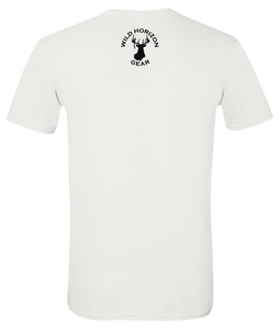 Short Sleeve T-Shirt North Dakota White Whitetail Deer Vibrant Design High Quality Tight Knit Ring Spun Low Maintenance Cotton Printed With The Newest Available Color Transfer Technology