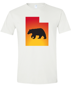 Short Sleeve T-Shirt Utah White Black Bear Vibrant Design High Quality Tight Knit Ring Spun Low Maintenance Cotton Printed With The Newest Available Color Transfer Technology