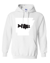 Load image into Gallery viewer, Pullover Hooded Sweatshirt Arkansas White Large Mouth Bass Vibrant Design High Quality Tight Knit Ring Spun Low Maintenance Cotton Printed With The Newest Available Color Transfer Technology