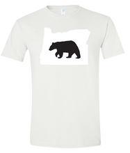 Load image into Gallery viewer, Short Sleeve T-Shirt Oregon White Black Bear Vibrant Design High Quality Tight Knit Ring Spun Low Maintenance Cotton Printed With The Newest Available Color Transfer Technology