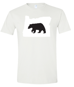 Short Sleeve T-Shirt Oregon White Black Bear Vibrant Design High Quality Tight Knit Ring Spun Low Maintenance Cotton Printed With The Newest Available Color Transfer Technology