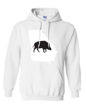 Load image into Gallery viewer, Pullover Hooded Sweatshirt Georgia White Wild Hog Vibrant Design High Quality Tight Knit Ring Spun Low Maintenance Cotton Printed With The Newest Available Color Transfer Technology