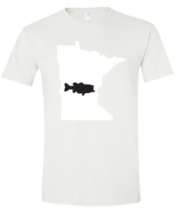 Short Sleeve T-Shirt Minnesota White Large Mouth Bass Vibrant Design High Quality Tight Knit Ring Spun Low Maintenance Cotton Printed With The Newest Available Color Transfer Technology
