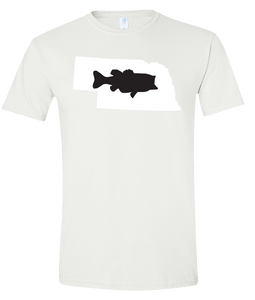 Short Sleeve T-Shirt Nebraska White Large Mouth Bass Vibrant Design High Quality Tight Knit Ring Spun Low Maintenance Cotton Printed With The Newest Available Color Transfer Technology