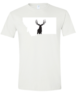 Short Sleeve T-Shirt Montana White Mule Deer Vibrant Design High Quality Tight Knit Ring Spun Low Maintenance Cotton Printed With The Newest Available Color Transfer Technology