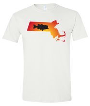 Load image into Gallery viewer, Short Sleeve T-Shirt Massachusetts White Large Mouth Bass Vibrant Design High Quality Tight Knit Ring Spun Low Maintenance Cotton Printed With The Newest Available Color Transfer Technology