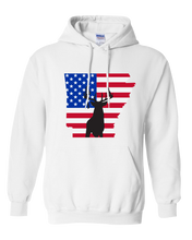 Load image into Gallery viewer, Pullover Hooded Sweatshirt Arkansas White Whitetail Deer Vibrant Design High Quality Tight Knit Ring Spun Low Maintenance Cotton Printed With The Newest Available Color Transfer Technology