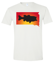 Load image into Gallery viewer, Short Sleeve T-Shirt South Dakota White Large Mouth Bass Vibrant Design High Quality Tight Knit Ring Spun Low Maintenance Cotton Printed With The Newest Available Color Transfer Technology