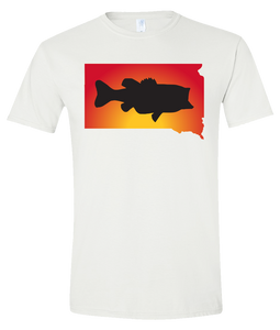 Short Sleeve T-Shirt South Dakota White Large Mouth Bass Vibrant Design High Quality Tight Knit Ring Spun Low Maintenance Cotton Printed With The Newest Available Color Transfer Technology