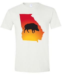 Short Sleeve T-Shirt Georgia White Wild Hog Vibrant Design High Quality Tight Knit Ring Spun Low Maintenance Cotton Printed With The Newest Available Color Transfer Technology