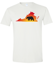 Load image into Gallery viewer, Short Sleeve T-Shirt Virginia White Black Bear Vibrant Design High Quality Tight Knit Ring Spun Low Maintenance Cotton Printed With The Newest Available Color Transfer Technology
