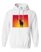 Load image into Gallery viewer, Pullover Hooded Sweatshirt Wyoming White Elk Vibrant Design High Quality Tight Knit Ring Spun Low Maintenance Cotton Printed With The Newest Available Color Transfer Technology
