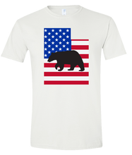 Load image into Gallery viewer, Short Sleeve T-Shirt Utah White Black Bear Vibrant Design High Quality Tight Knit Ring Spun Low Maintenance Cotton Printed With The Newest Available Color Transfer Technology