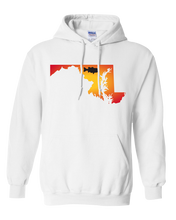 Load image into Gallery viewer, Pullover Hooded Sweatshirt Maryland White Large Mouth Bass Vibrant Design High Quality Tight Knit Ring Spun Low Maintenance Cotton Printed With The Newest Available Color Transfer Technology