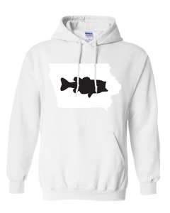 Pullover Hooded Sweatshirt Iowa White Large Mouth Bass Vibrant Design High Quality Tight Knit Ring Spun Low Maintenance Cotton Printed With The Newest Available Color Transfer Technology
