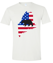 Load image into Gallery viewer, Short Sleeve T-Shirt Maine White Black Bear Vibrant Design High Quality Tight Knit Ring Spun Low Maintenance Cotton Printed With The Newest Available Color Transfer Technology