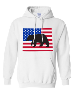 Pullover Hooded Sweatshirt Wyoming White Black Bear Vibrant Design High Quality Tight Knit Ring Spun Low Maintenance Cotton Printed With The Newest Available Color Transfer Technology