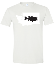 Load image into Gallery viewer, Short Sleeve T-Shirt Washington White Large Mouth Bass Vibrant Design High Quality Tight Knit Ring Spun Low Maintenance Cotton Printed With The Newest Available Color Transfer Technology