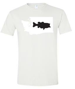 Short Sleeve T-Shirt Washington White Large Mouth Bass Vibrant Design High Quality Tight Knit Ring Spun Low Maintenance Cotton Printed With The Newest Available Color Transfer Technology
