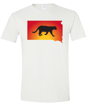 Load image into Gallery viewer, Short Sleeve T-Shirt South Dakota White Mountain Lion Vibrant Design High Quality Tight Knit Ring Spun Low Maintenance Cotton Printed With The Newest Available Color Transfer Technology