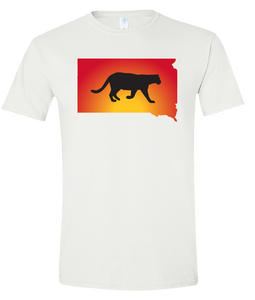 Short Sleeve T-Shirt South Dakota White Mountain Lion Vibrant Design High Quality Tight Knit Ring Spun Low Maintenance Cotton Printed With The Newest Available Color Transfer Technology