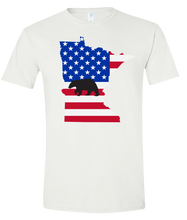 Load image into Gallery viewer, Short Sleeve T-Shirt Minnesota White Black Bear Vibrant Design High Quality Tight Knit Ring Spun Low Maintenance Cotton Printed With The Newest Available Color Transfer Technology