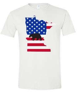 Short Sleeve T-Shirt Minnesota White Black Bear Vibrant Design High Quality Tight Knit Ring Spun Low Maintenance Cotton Printed With The Newest Available Color Transfer Technology