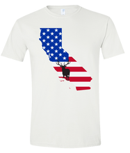 Load image into Gallery viewer, Short Sleeve T-Shirt California White Elk Vibrant Design High Quality Tight Knit Ring Spun Low Maintenance Cotton Printed With The Newest Available Color Transfer Technology
