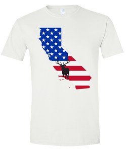 Short Sleeve T-Shirt California White Elk Vibrant Design High Quality Tight Knit Ring Spun Low Maintenance Cotton Printed With The Newest Available Color Transfer Technology
