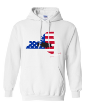 Load image into Gallery viewer, Pullover Hooded Sweatshirt New York White Large Mouth Bass Vibrant Design High Quality Tight Knit Ring Spun Low Maintenance Cotton Printed With The Newest Available Color Transfer Technology