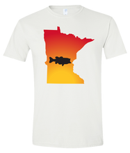 Load image into Gallery viewer, Short Sleeve T-Shirt Minnesota White Large Mouth Bass Vibrant Design High Quality Tight Knit Ring Spun Low Maintenance Cotton Printed With The Newest Available Color Transfer Technology